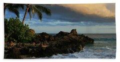 Aloha Naau Sunset Paako Beach Honuaula Makena Maui Hawaii Bath Towel by Sharon Mau