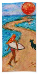 Hand Towel featuring the painting Aloha Surfer by Xueling Zou