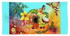 Hand Towel featuring the digital art Aloha Tropical Fruits By Kaye Menner by Kaye Menner