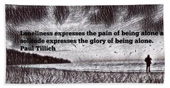 Alone On The Beach Drawing With Text Hand Towel