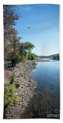 Along The Bank Of The Delaware River Hand Towel by Judy Wolinsky