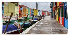 Along The Canal In Burano Island Bath Towel