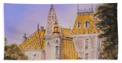 Hand Towel featuring the painting Aloxe Corton Chateau Jaune by Mary Ellen Mueller Legault