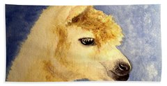 Hand Towel featuring the painting Alpaca Baby by Carol Grimes
