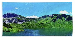 Hand Towel featuring the painting Alpine Lake by PixBreak Art