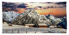 Alpine Winter Scene Hand Towel