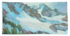 Hand Towel featuring the painting Alps In Switzerland by Diane McClary