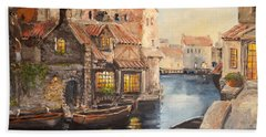 Bath Towel featuring the painting Alsace At Dusk by Alan Lakin