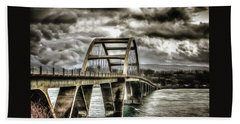 Alsea Bay Bridge Hand Towel by Thom Zehrfeld