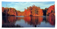 Alum Creek Landscape Bath Towel by Angela Murdock