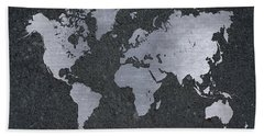 Aluminum Map Of The World On Concrete Slab Hand Towel