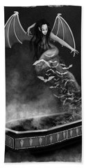 Always Awake - Black And White Fantasy Art Bath Towel