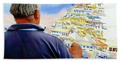 Amalfi Coast Street Artist - Positano, Italy Bath Towel