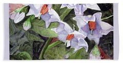 Amanda's Blue Potato Flowers Hand Towel by Sandy McIntire
