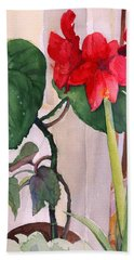 Hand Towel featuring the painting Amaryllis And Begonia by Nancy Watson
