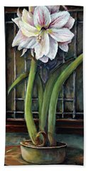 Hand Towel featuring the painting Amaryllis In The Window by Bernadette Krupa