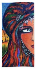 Bath Towel featuring the painting Amazigh Beauty 2 by Rae Chichilnitsky