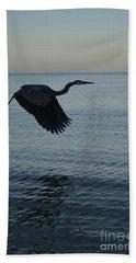 Amazing Flying Great Blue Heron Bath Towel by DejaVu Designs