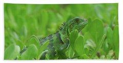 Amazingly Green Iguana In Green Shrubs Hand Towel by DejaVu Designs