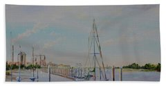 Hand Towel featuring the painting Amelia Island Port by AnnaJo Vahle