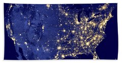 America By Night Hand Towel by Delphimages Photo Creations