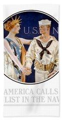 America Calls Enlist In The Navy Bath Towel