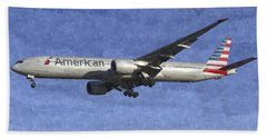 American Airlines Boeing 777 Aircraft Art Bath Towel