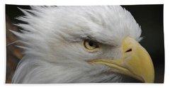 Bath Towel featuring the digital art American Bald Eagle Portrait by Ernie Echols