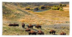 American Bison In Autumn Bath Towel
