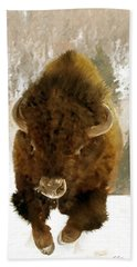 Hand Towel featuring the painting American Bison by James Shepherd