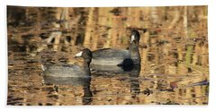 Bath Towel featuring the photograph American Coots by Jerry Battle