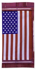American Flag In Red Window Hand Towel