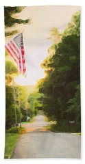 American Flag On A Country Road Bath Towel