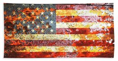 American Flag On Rusted Riveted Metal Door Hand Towel