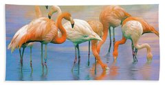 American Flamingos Hand Towel by Brian Tarr