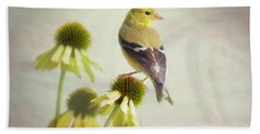 American Goldfinch On Coneflower Bath Towel