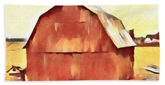 Hand Towel featuring the painting American Gothic Red Barn by Dan Sproul