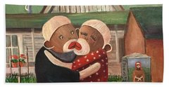 American Gothic The Monkey Lisa And The Holler Hand Towel