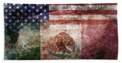 American Mexican Tattered Flag  Bath Towel