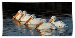American Pelicans - 01 Bath Towel by Rob Graham