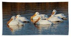 American Pelicans - 02 Bath Towel by Rob Graham