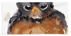 Hand Towel featuring the painting American Robin by Dawn Derman