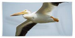 American White Pelican Flyby  Hand Towel