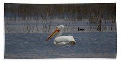 American White Pelican Searching Da Hand Towel by Ernie Echols
