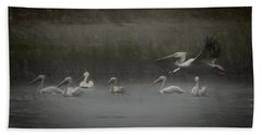 American White Pelicans Da Hand Towel by Ernie Echols