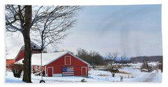 Bath Towel featuring the digital art Americana Barn In Vermont by Sharon Batdorf