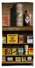 Americana Kitchen Art Decor - Vintage Spice Cans Tins 2 - Nostalgic Spice Rack - Square Format Hand Towel