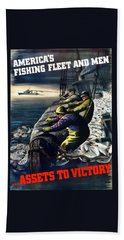 America's Fishing Fleet And Men  Hand Towel