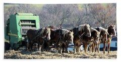 Amish Haymaker In Lancaster County, Pennsylvania Hand Towel