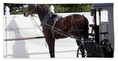 Amish Horse And Buggy In Lancaster County, Pennsylvania Bath Towel